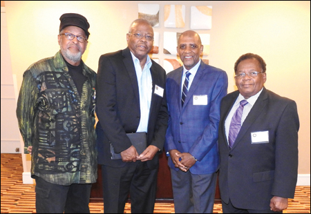 From left: International African American Prosthetic and Orthotic Coalition founding members, Charles Grantham; Michael Lewis, CPO; Jack Steele, CO, LCO, FAAOP; and Frank Daniels, CPO, CPed, gather at the annual meeting.
