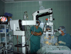 Doctors use the microscope donated by John T. Pajka, MD