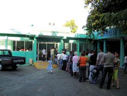 Patients line up