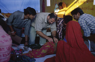 Coughlin provides assistance in a relief tent