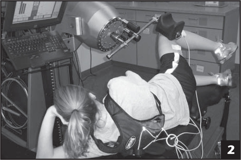 Participant positioning for isometric strength test and isometric fatigue protocol.