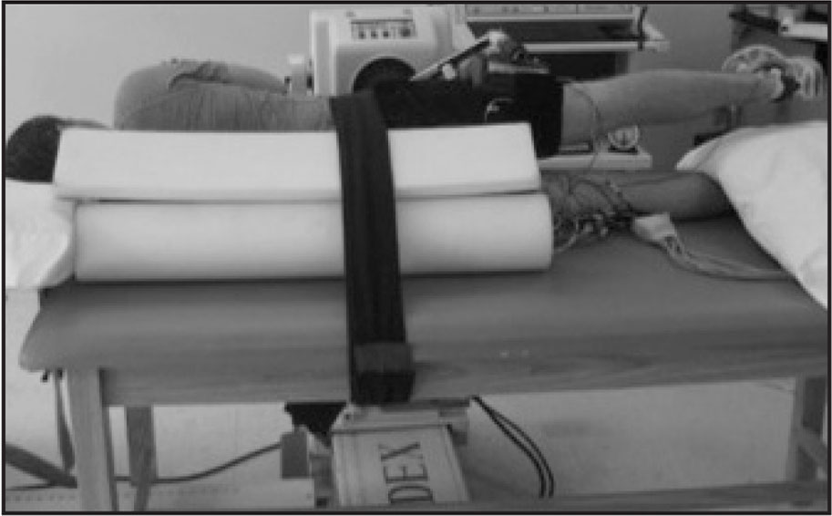 Positioning for side-lying hip-abduction exercise.
