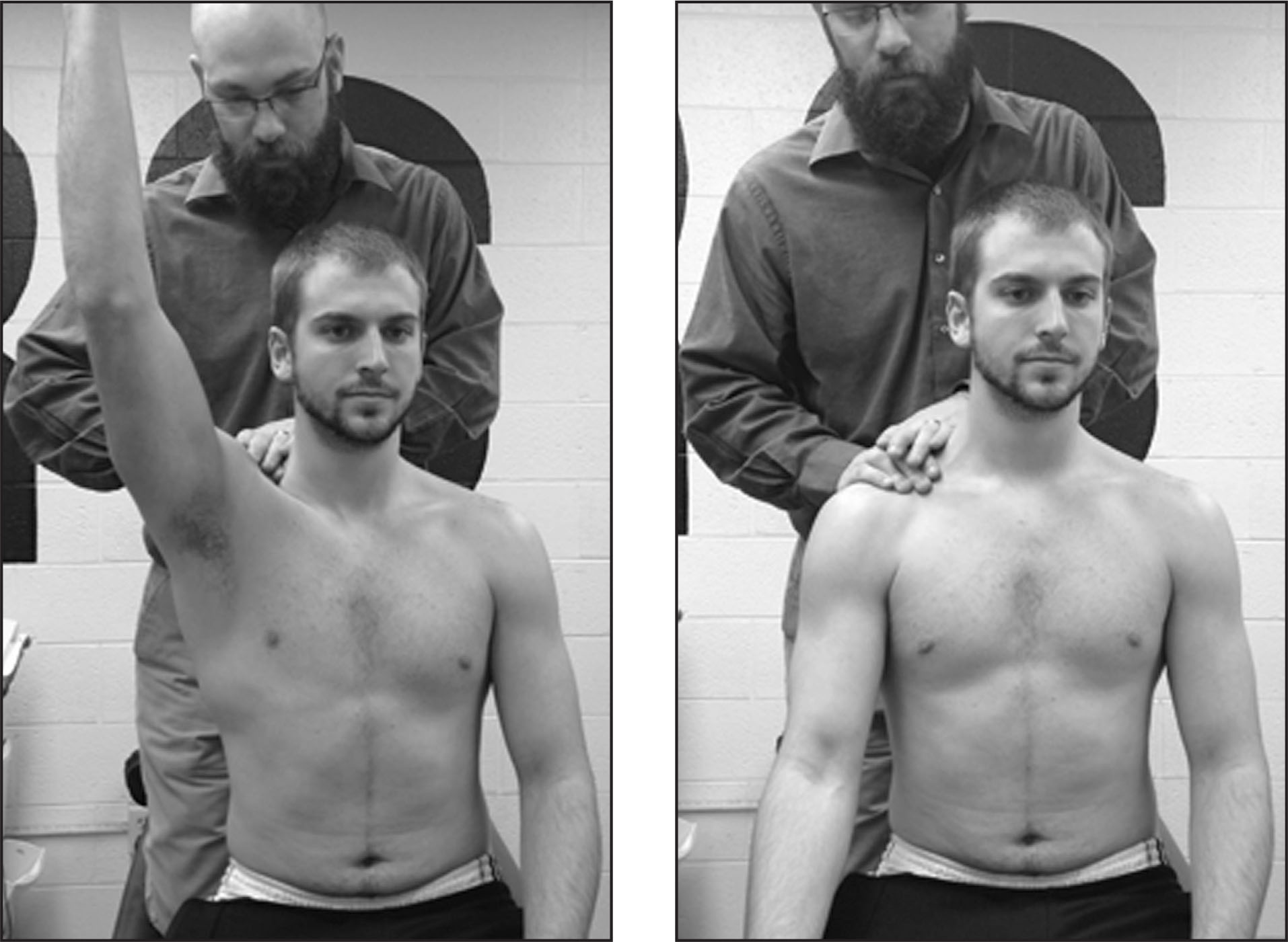 Hand placement for the mobilization with movement for the acromioclavicular glide with a forward flexion movement by the patient.