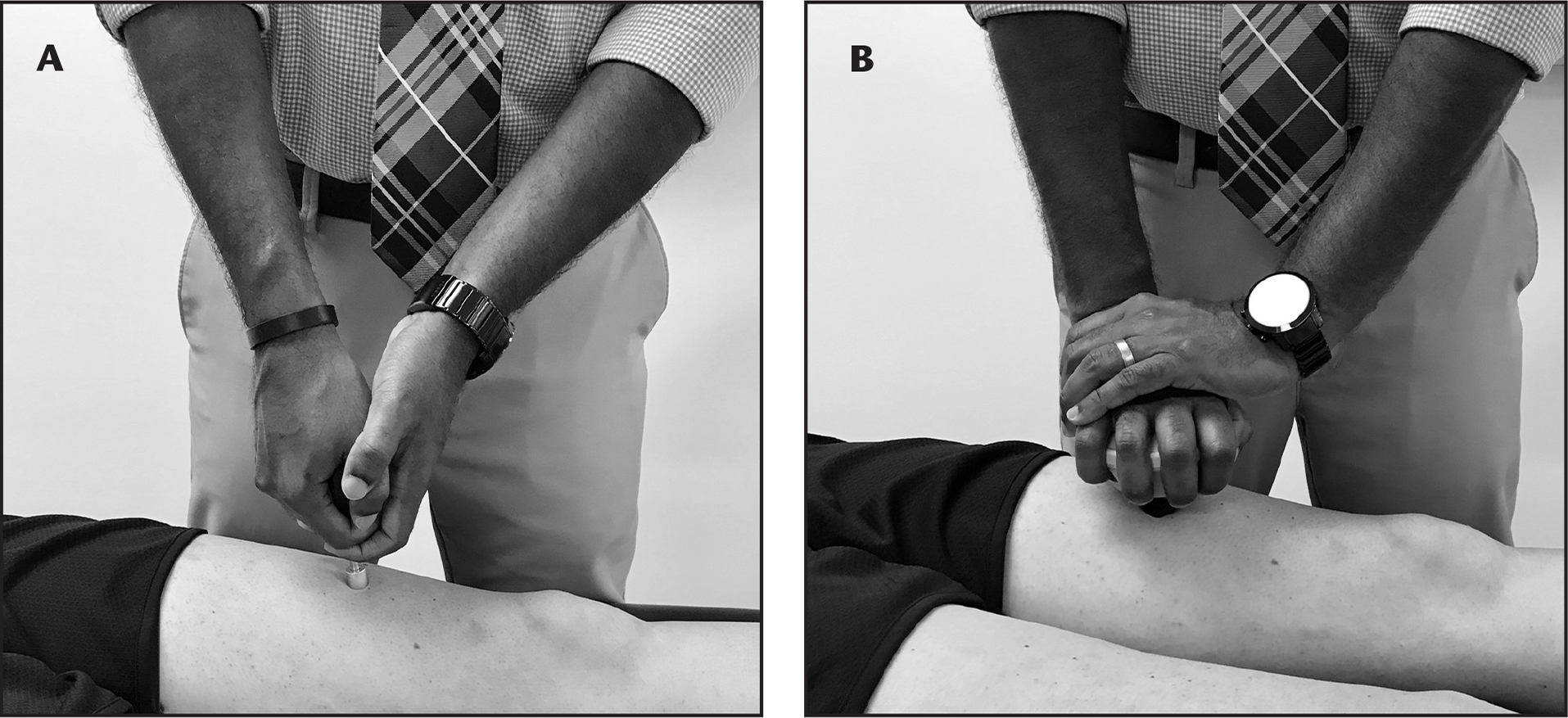 Pressure pain threshold assessment of the quadriceps using a (A) pressure algometer and (B) handheld dynamometer.