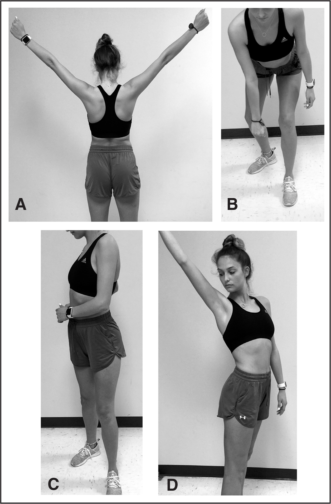 "(A) Long lever ""Y"" exercise. Short lever lawnmower exercise (B) beginning with trunk and knee flexion and (C) ending with patient standing erect while using trunk rotation to achieve scapular retraction. (D) Combination of long lever exercise with trunk rotation."