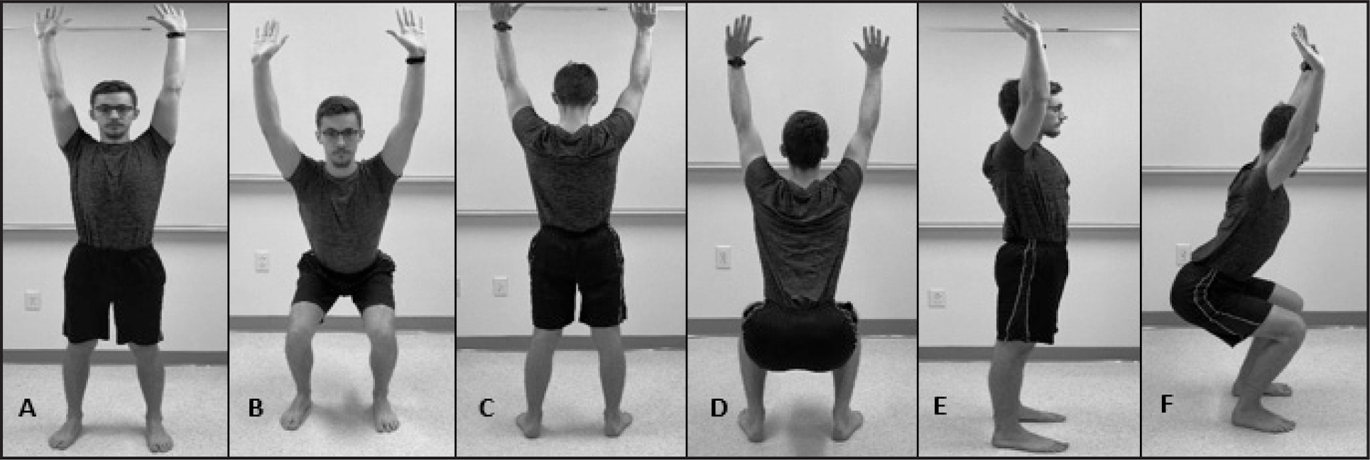 2-Leg Squat sub-test: (A) start position (front view); (B) end position (front view); (C) start position (back view); (D) end position (back view); (E) start position (side view); and (F) end position (side view).
