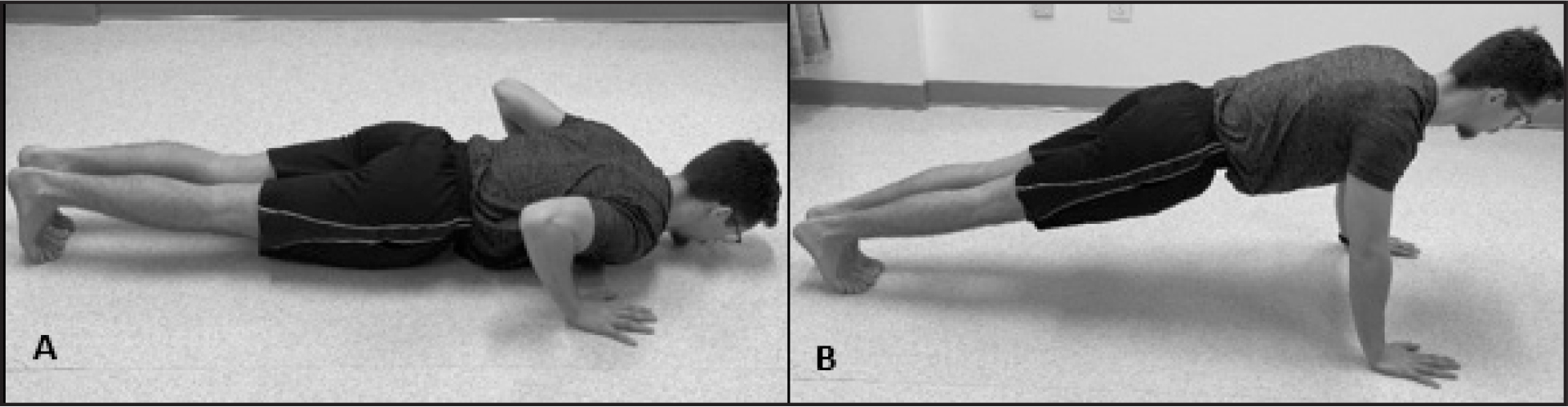 Push-Up sub-test: (A) start position and (B) end position.