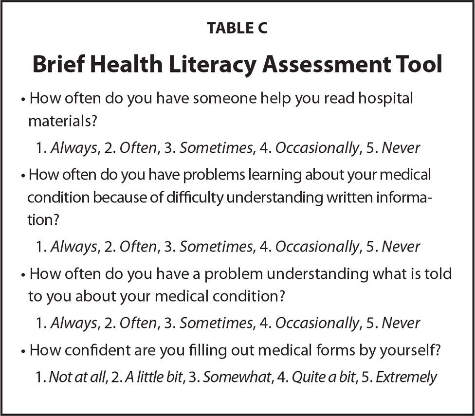 Brief Health Literacy Assessment Tool