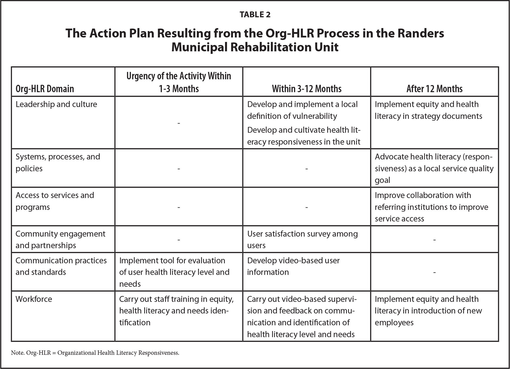 The Action Plan Resulting from the Org-HLR Process in the Randers Municipal Rehabilitation Unit