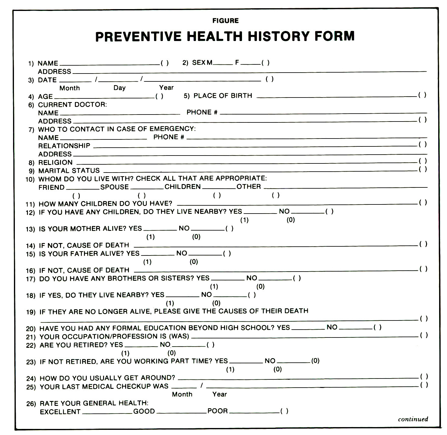 health questionnaire form template - the preventive health history form a questionnaire for