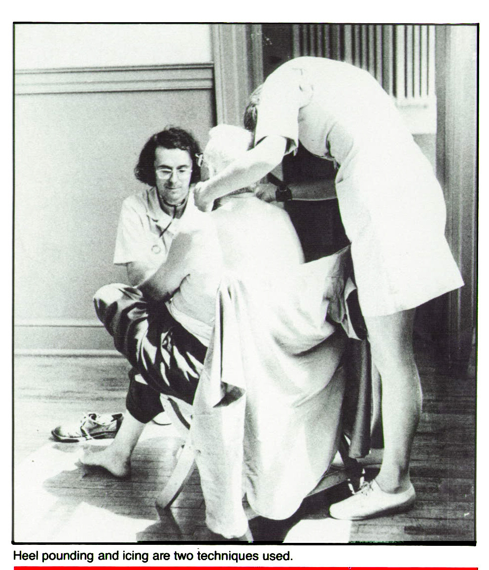 Heel pounding and icing are two techniques used.