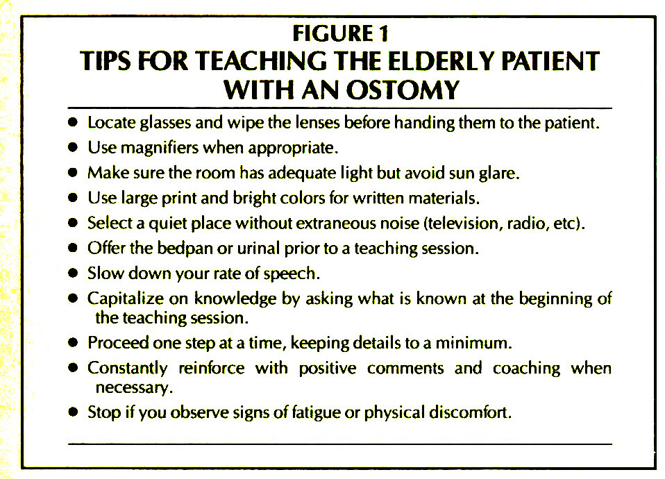 FIGURE 1TIPS FOR TEACHING THE ELDERLY PATIENT WITH AN OSTOMY