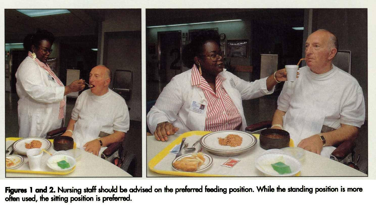 Figures 1 and 2. Nursing staff should be advised on the preferred feeding position. While the standing position is more often used, the sitting position is preferred.