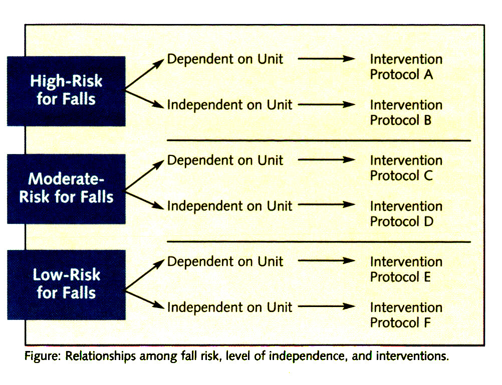 Figure: Relationships among fall risk, level of independence, and interventions.