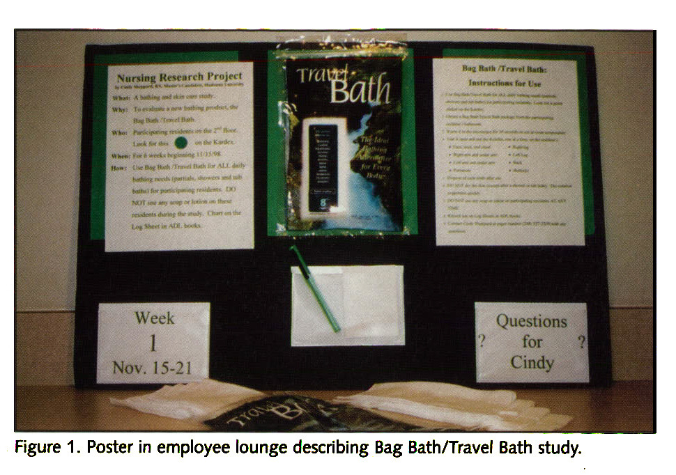 Figure 1. Poster in employee lounge describing Bag Bath/Travel Bath study.