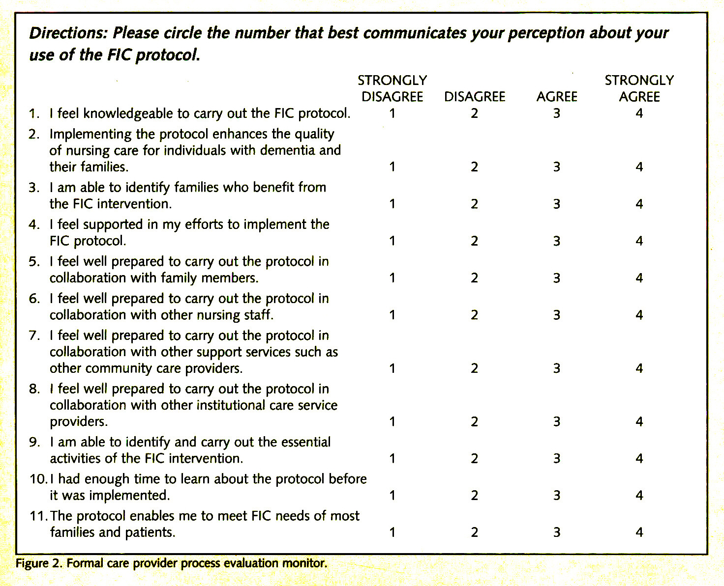 Figure 2. Formal care provider process evaluation monitor.