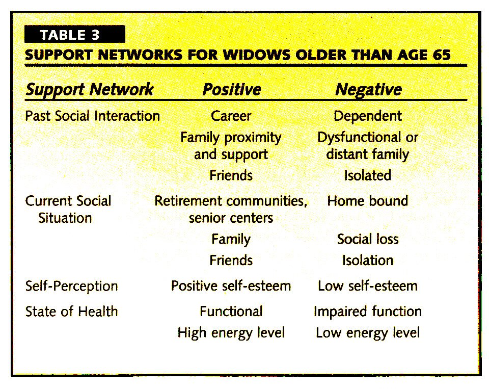 TABLE 3SUPPORT NETWORKS FOR WIDOWS OLDER THAN AGE 65