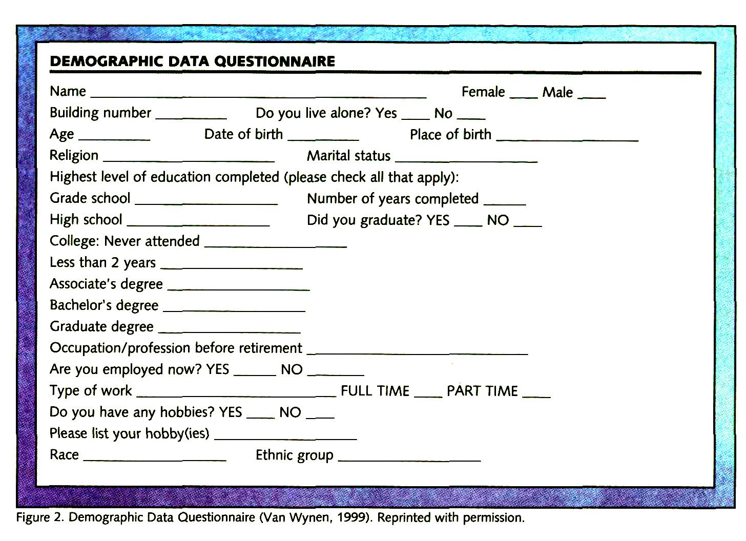 Figure 2. Demographic Data Questionnaire (Van Wynen, 1999). Reprinted with permission.