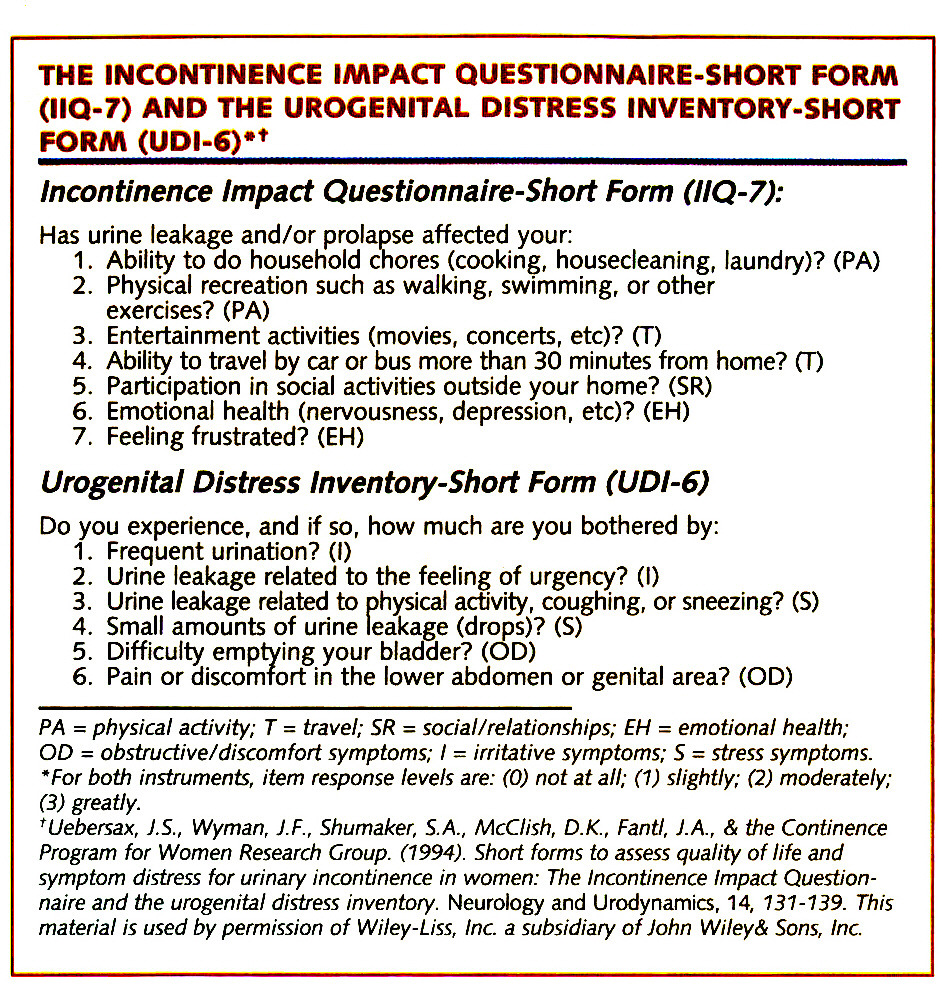 THE INCONTINENCE IMPACT QUESTIONNAIRE-SHORT FORM (IIQ-7) AND THE UROGENITAL DISTRESS INVENTORY-SHORT FORM (UPI-6)*†