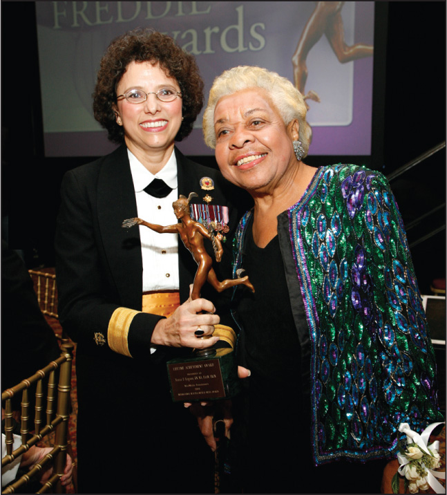 Dr. Carol Romano, Assistant Surgeon General, Poses with Vernice Ferguson, Rn, Ma, Faan, Frcn, Winner of the 2008 Freddie Lifetime Achievement Award.Photo Courtesy of the Freddie Awards