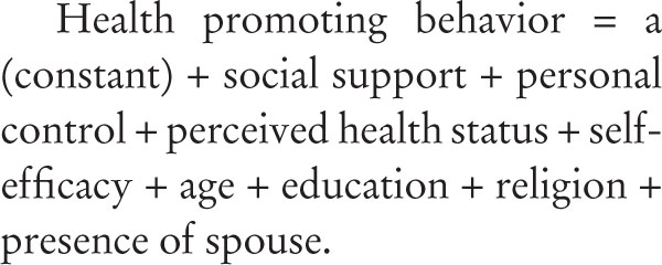 Healthpromotingbehavior=a(constant)+socialsupport+personalcontrol+perceivedhealthstatus+self-efficacy+age+education+religion+presenceofspouse.