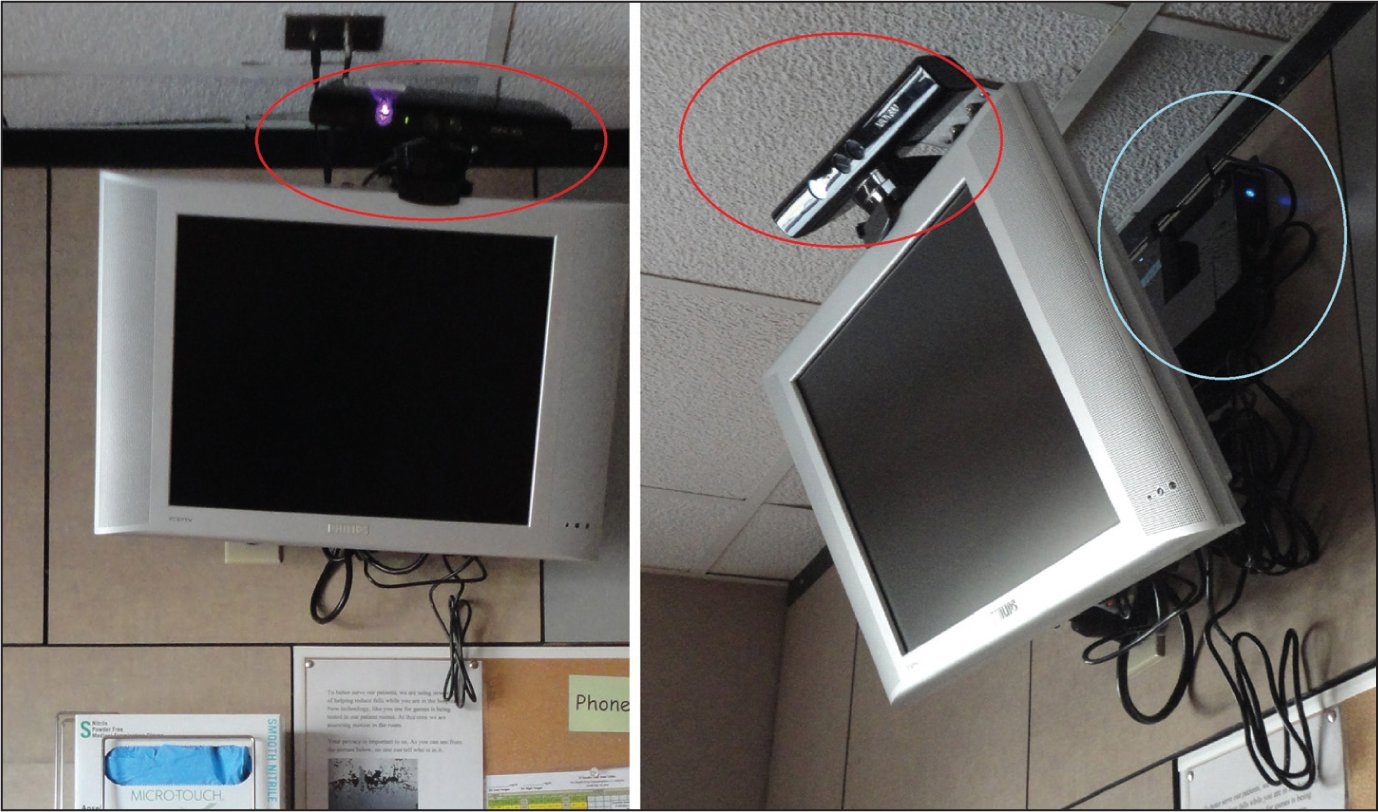 Front and side view of a Microsoft® Kinect™ sensor (circled in red) mounted above the television in a hospital room. The EEEBox computer along with the external hard drive is circled in blue.