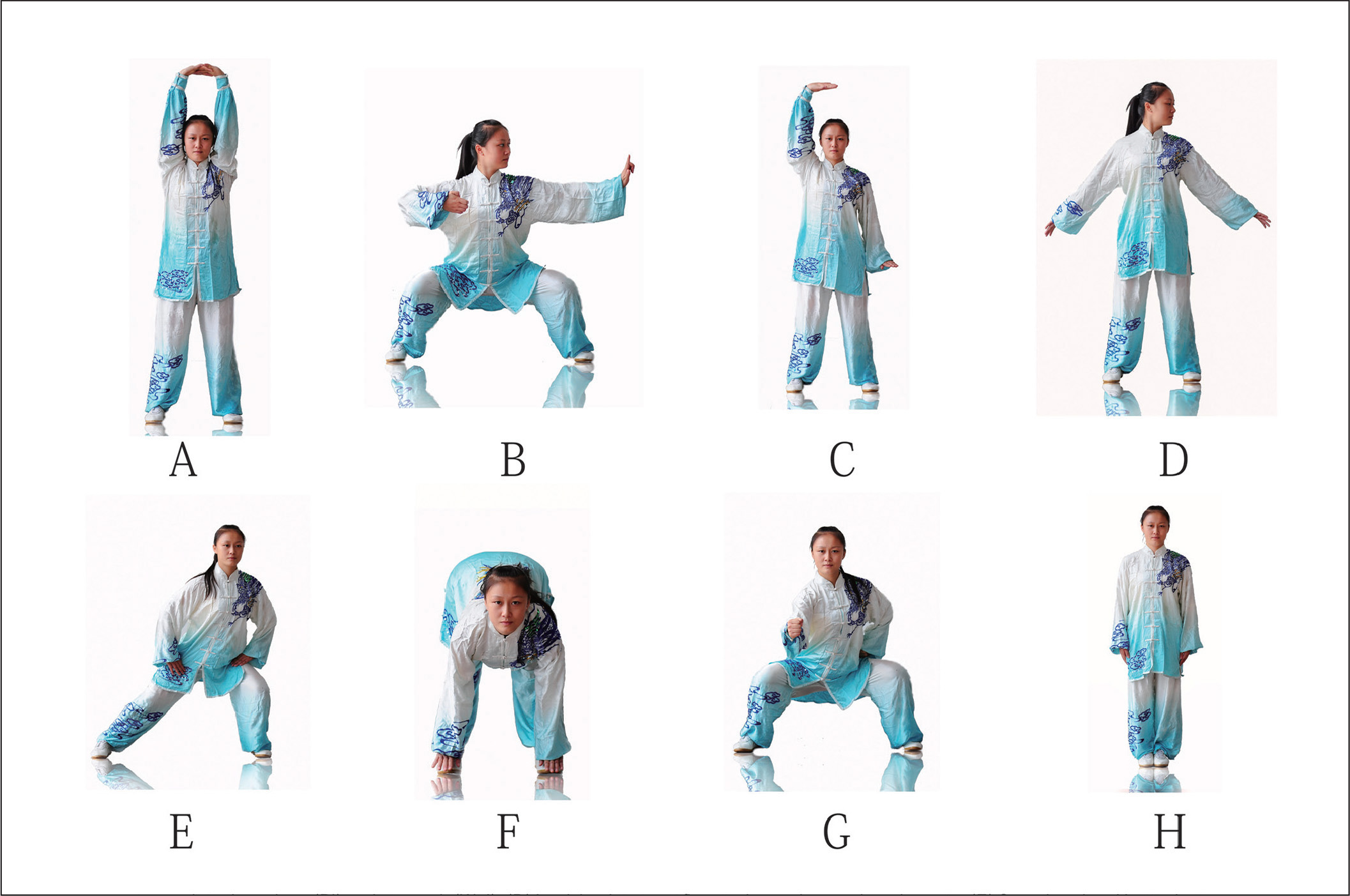 Ba Duan Jin exercise program. (A) Prop up the sky with hands to regulate the triple energizer. (B) Draw a bow on both sides, like shooting a vulture. (C) Raise single arm to regulate spleen (Pi) and stomach (Wei). (D) Look back to treat five strains and seven impairments. (E) Sway head and buttocks to expel heart (Xin)-fire. (F) Pull toes with both hands to reinforce the kidney (Shen) and waist. (G) Clench fists and look with eyes wide open to enhance strength and stamina. (H) Rise and fall on tip toes to prevent all diseases.