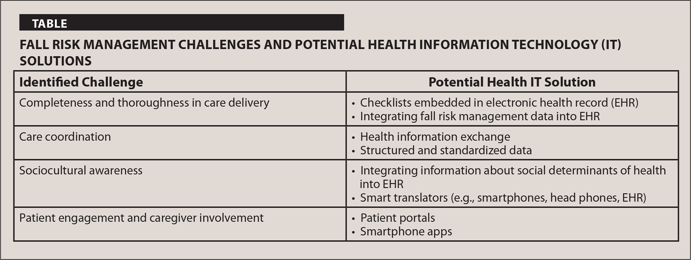 Fall Risk Management Challenges and Potential Health Information Technology (IT) Solutions