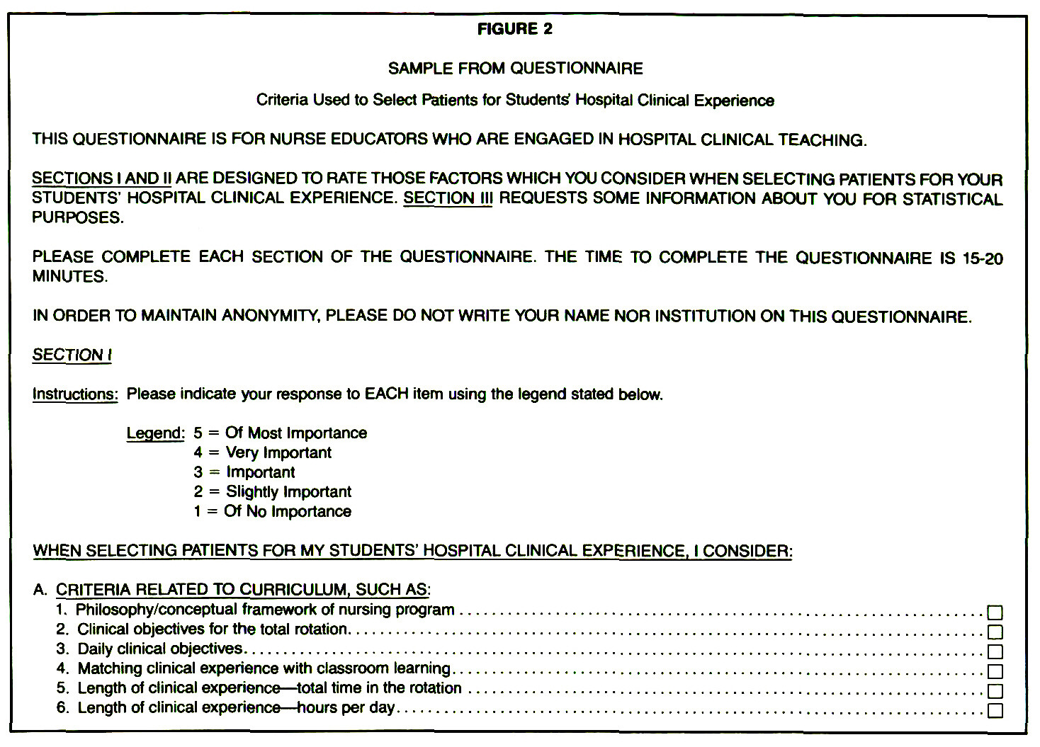 FIGURE 2SAMPLE FROM QUESTIONNAIRE
