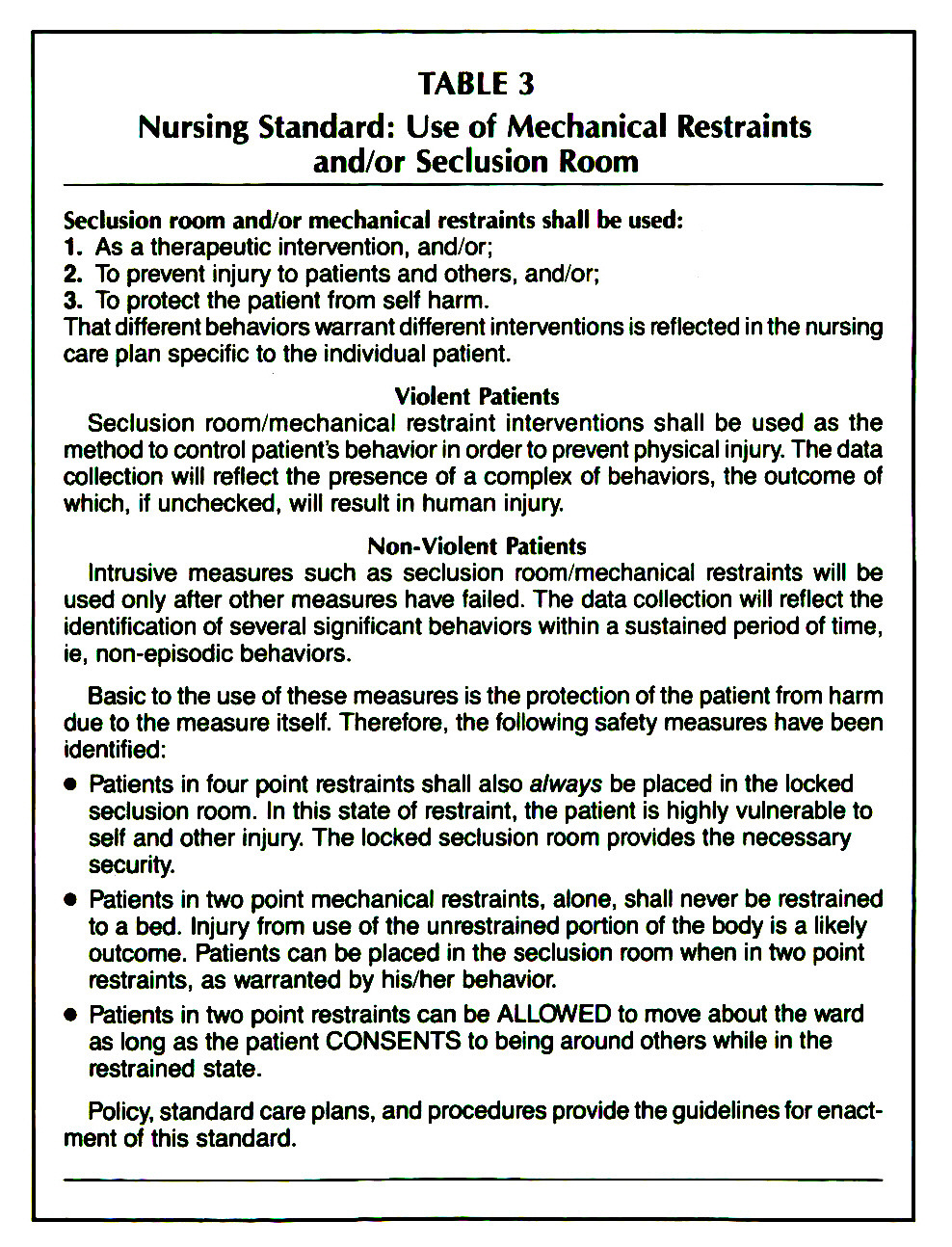 an analysis of patient restraint protocols in hospitals and clinics A policy on the use of restraint and comprehensive guidelines should be   restraint of patients in hospitals may be chemical, physical and/or psychological   (ibm spss statistics for windows, version 19) was used to analyse the data   patients at risk for falling', nursing clinics of north america 39(3),.