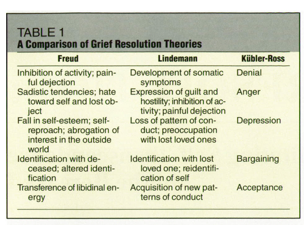 kubler-ross grief stages essay Kubler-ross explains that there are five stages of grief: denial, anger, bargaining, depression, and acceptance she states, the grief process follows a normal sequence of deny, rage, trying to negotiate, a depressed state, and finally acquiescence (kubler-ross, 1969.