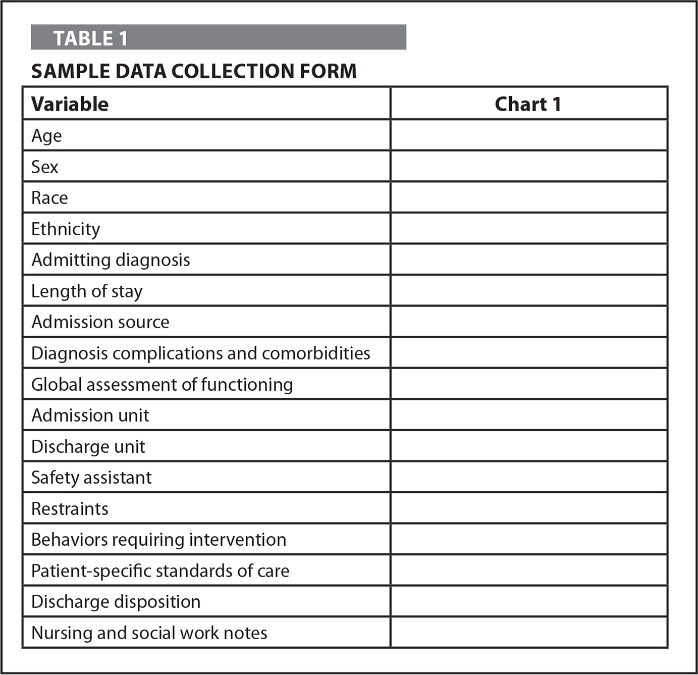 Sample Data Collection Form