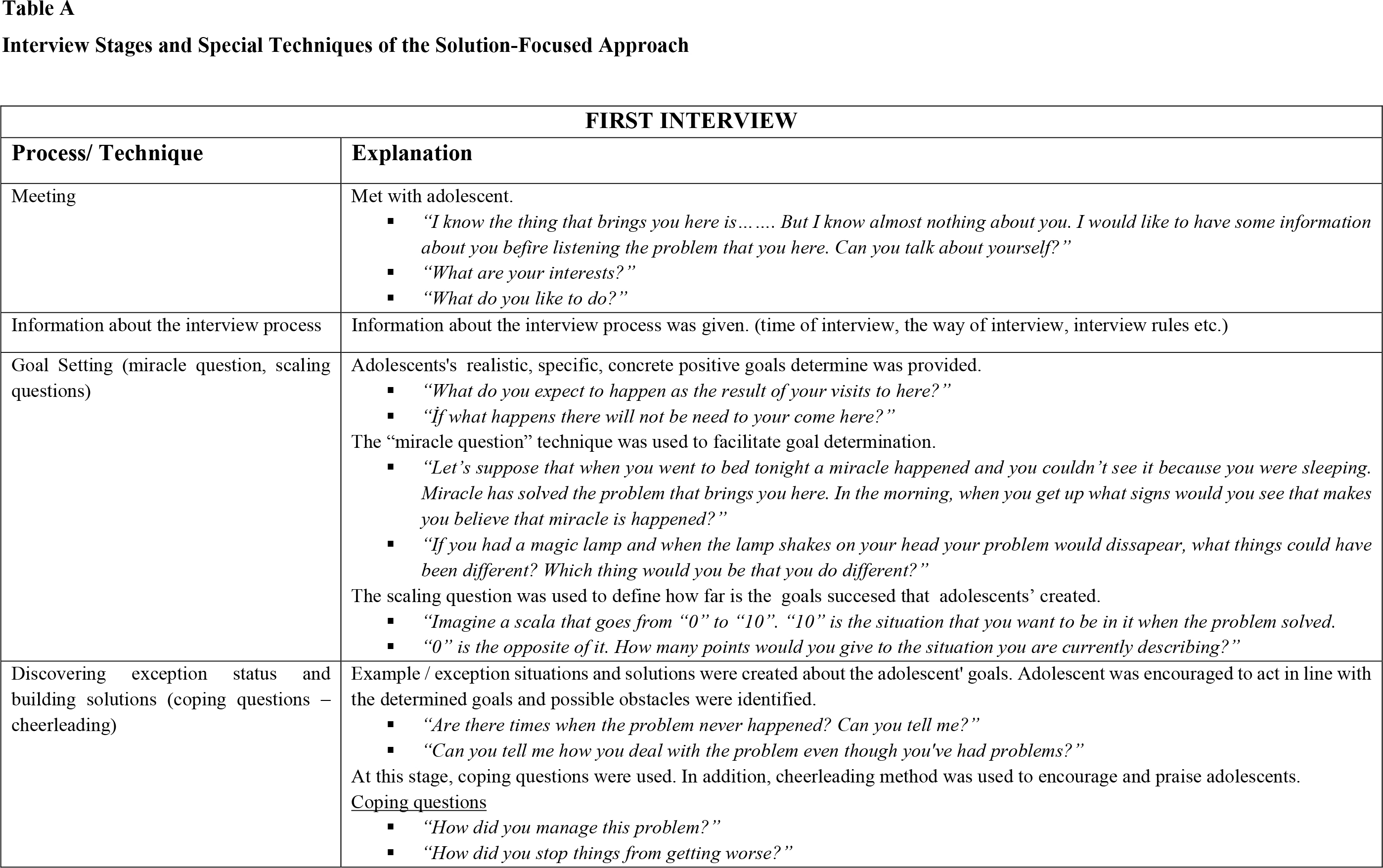 Interview Stages and Special Techniques of the Solution-Focused Approach