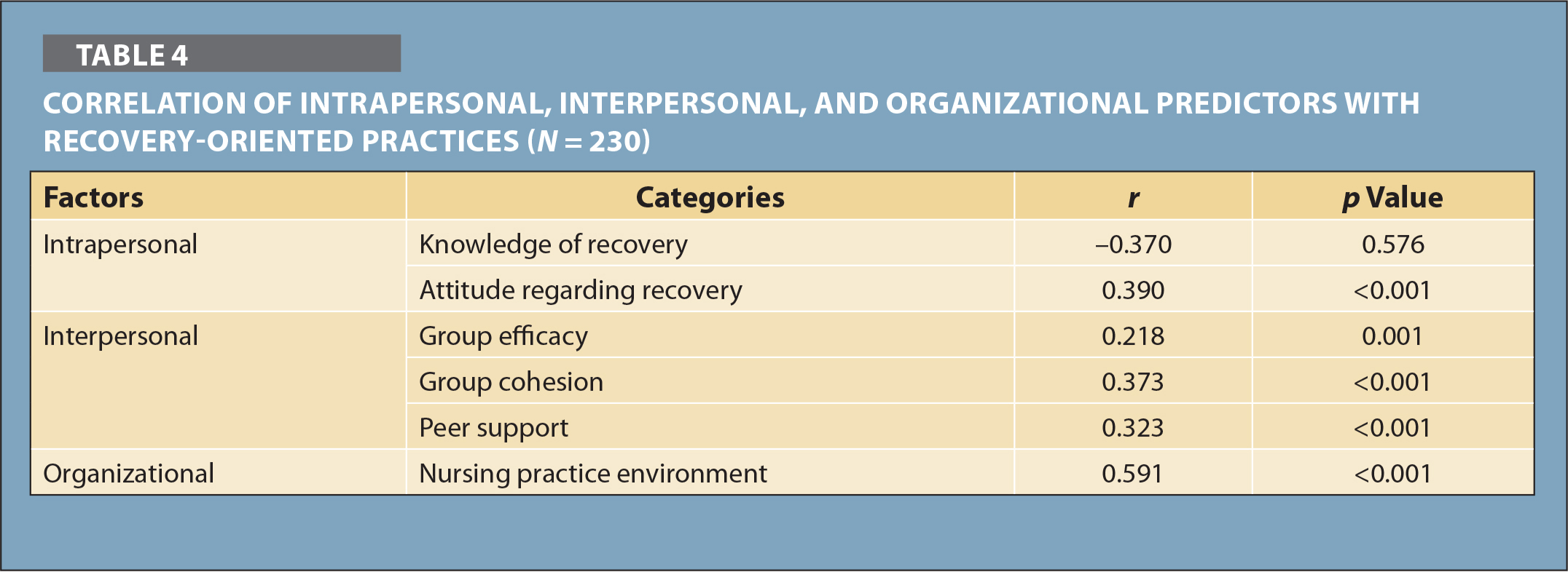 Correlation of Intrapersonal, Interpersonal, and Organizational Predictors with Recovery-Oriented Practices (N = 230)