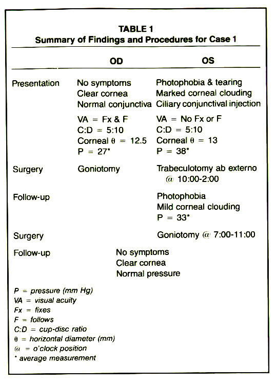 TABLE 1Summary of Findings and Procedures for Case 1