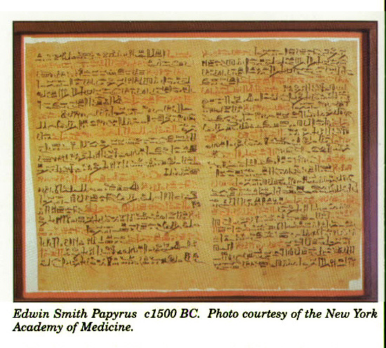 Edwin Smith Papyrus c 1500 BC. Photo courtesy of the New York Academy of Medicine.