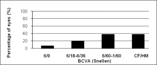 Best-corrected visual acuity (BCVA) Snellen in affected eye of patients with history of unilateral congenital cataract. CF = counting fingers; HM = hand motions.