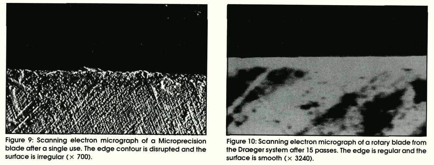 Figure 9: Scanning electron micrograph of a Microprecision blade after a single use. The edge contour is disrupted and the surface is irregular ( x 700).Figure 10: Scanning electron micrograph of a rotary blade from the Draeger system after 15 passes. The edge is regular and the surface is smooth ( x 3240).