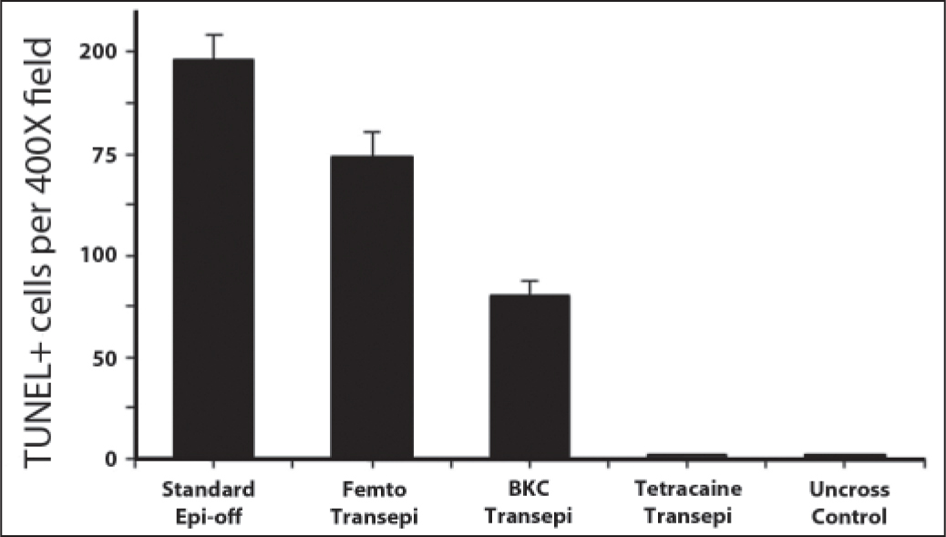 Quantification of TUNEL+ cells in central cornea 24 hours after standard epithelium-off cross-linking (CXL), femtosecond-assisted transepithelial CXL, benzalkonium chloride-ethylenediaminetetraacetic acid (BKC-EDTA) transepithelial CXL, tetracaine transepithelial CXL, and non-CXL control rabbit corneas. Six corneas were examined per time period for each group. Data are expressed as the mean TUNEL+ stromal cells per 400× column from the anterior stromal surface to the posterior stromal surface. Error bars denote the standard error of mean.