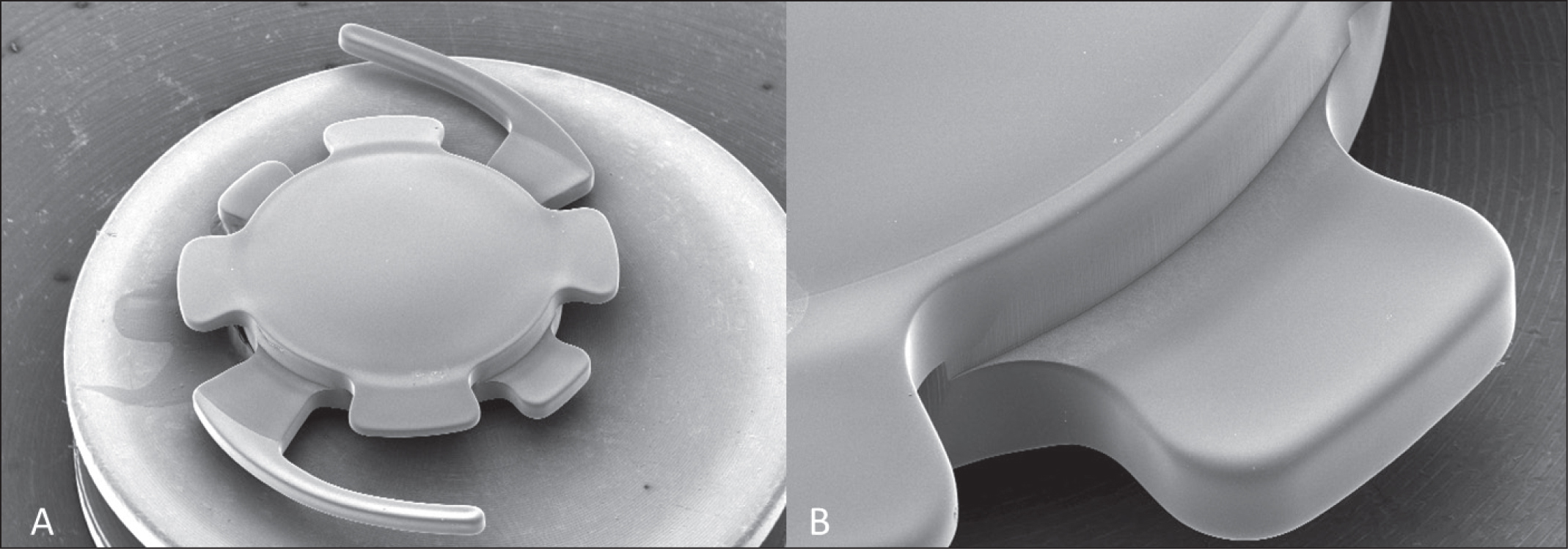 Scanning electron microscope images of the 90F intraocular lens (Morcher GmbH, Stuttgart, Germany). (A) Overview. (B) Flank between anterior and posterior haptic lips.