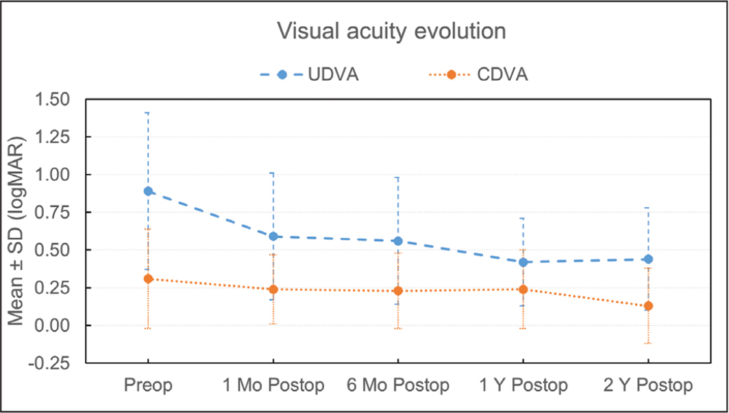 Uncorrected (UDVA) and corrected (CDVA) visual acuity before and evolution after intracorneal ring segments implantation up to 2 years of follow-up. SD = standard deviation