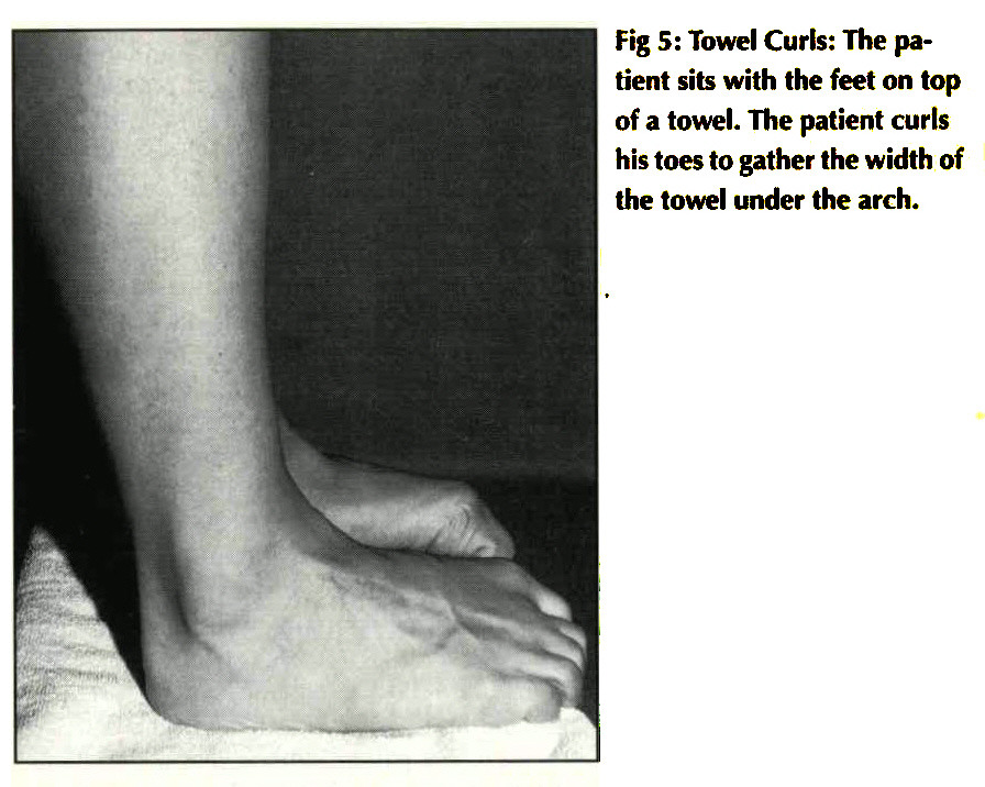 Fig 5: Towel Curls: The patient sits with the feet on top of a towel. The patient curls his toes to gather the width of the towel under the arch.