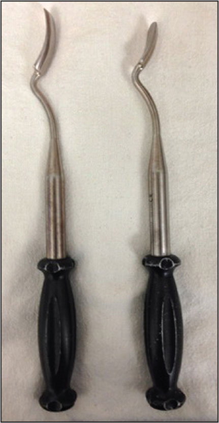 Curved osteotomes, or Aufranc acetabular gouges.