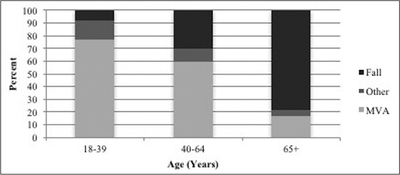Distribution of patients with femoral shaft fractures by mechanism of injury and age groups. Abbreviation: MVA, motor vehicle accident.