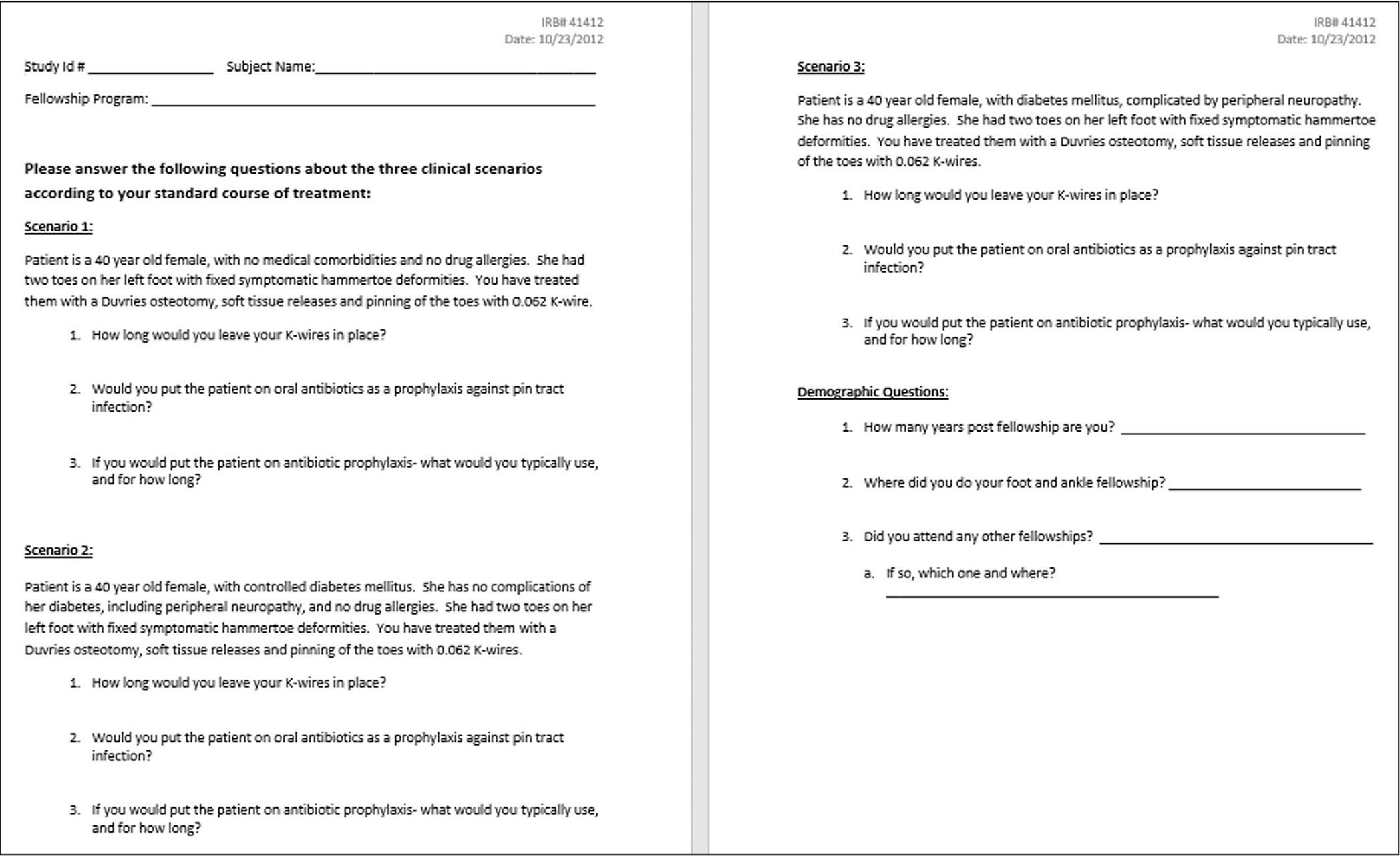 Survey mailed to attending physicians at foot and ankle fellowship programs on the use of prophylactic antibiotic therapy for patients treated with Kirschner wires.