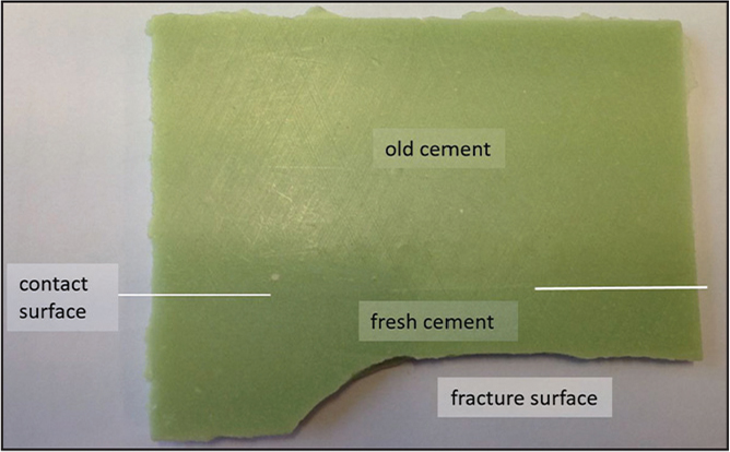 Result of manual testing of a cement specimen consisting of old and fresh cement (simulated cement-in-cement application). The fracture surface was not at the contact surface of the old and newly added cement.