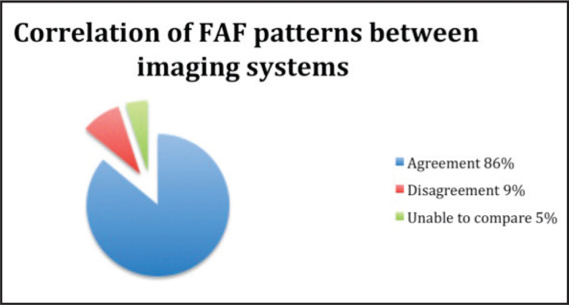 Agreement of fundus autofluorescence (FAF) pattern between confocal scanning laser ophthalmoscope and fundus camera–based images of the same eye. FAF images were the same pattern in 86% of cases, with disagreement in 9% and inability to compare in 5%.