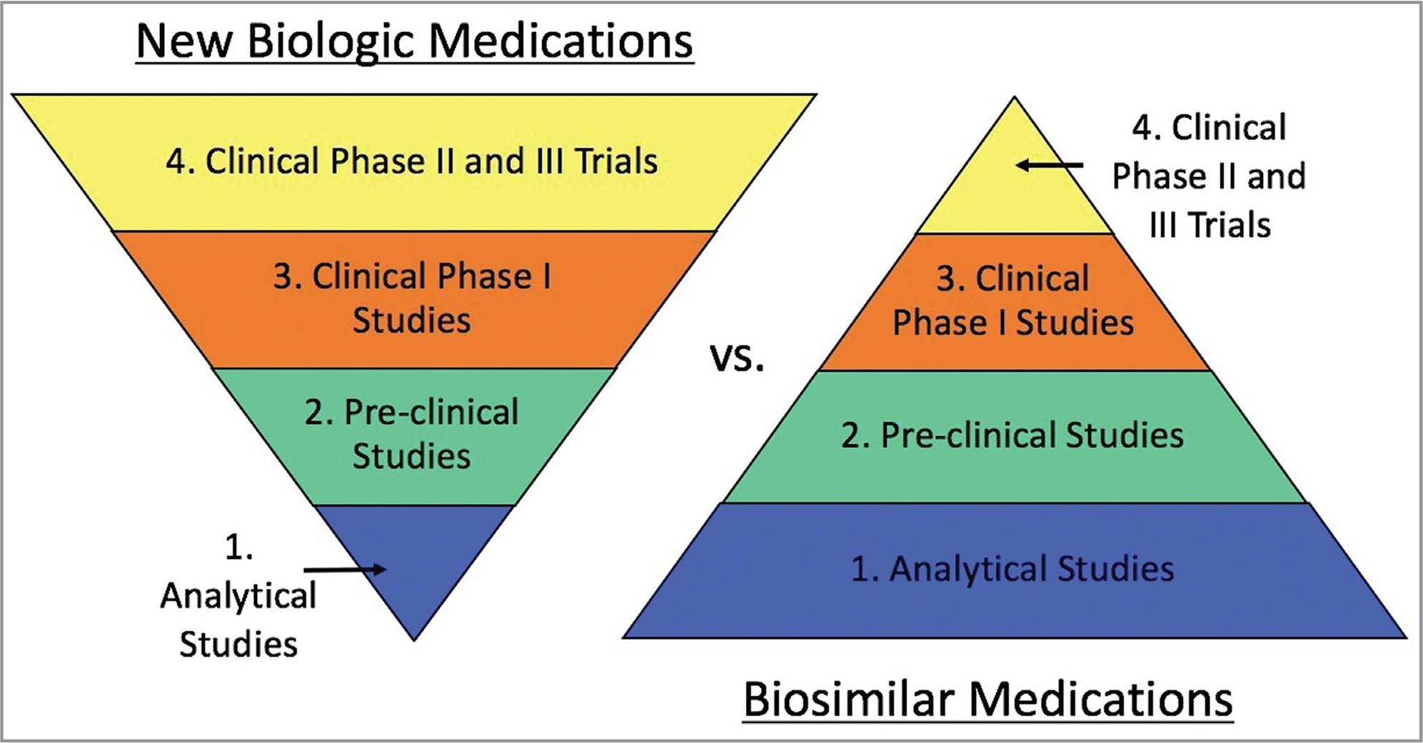 "The development of a new biologic medication requires significant time and funding to support multiple, large clinical trials to prove efficacy and safety. This is in contrast to the development of biosimilars, which focuses more on the analytical and preclinical studies to demonstrate that the biosimilar is in fact ""similar"" to the original molecule. Based on the understanding that similar molecules will behave similarly and produce similar results, there is a smaller focus on phase 2 and 3 clinical trials for biosimilars as compared to new biologics. Biosimilar development begins with extensive analytical and functional studies on multiple batches of the original biologic medication. Through reverse engineering, a biosimilar product is created, and its manufacturing process is perfected to produce highly similar medication in each batch. Preclinical functional studies are then performed to verify the same mechanism of action followed by phase 1 pharmacokinetic and pharmacodynamic studies in humans to determine bioequivalence. Lastly, phase 3 clinical studies are done to confirm safety and efficacy.5"