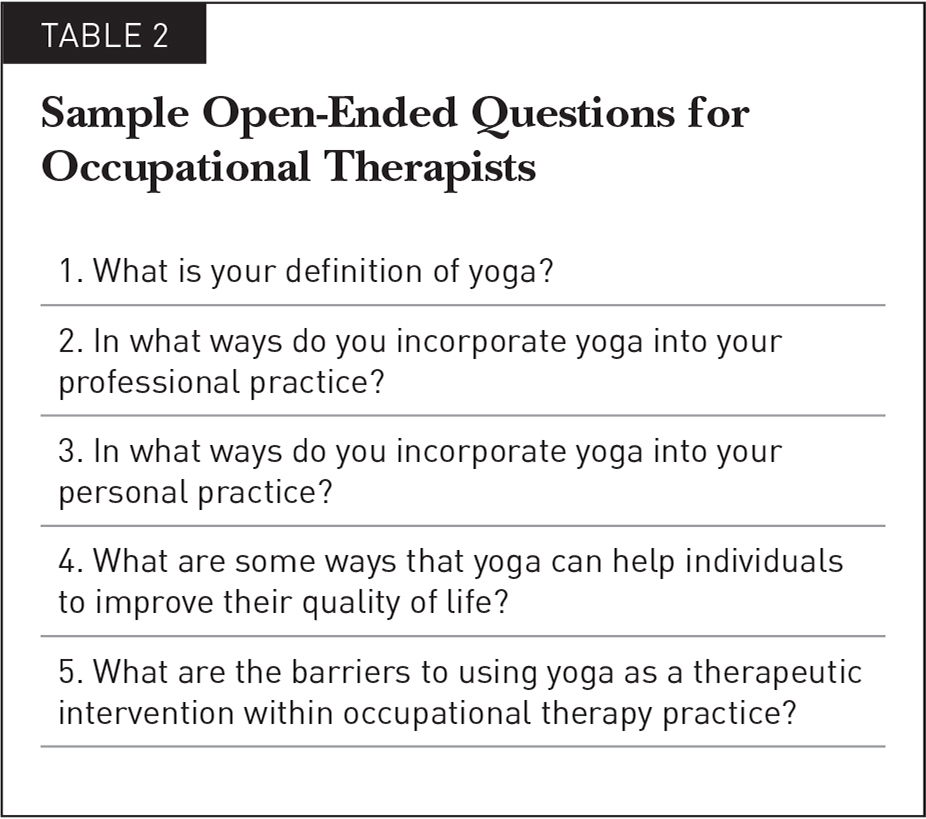 Sample Open-Ended Questions for Occupational Therapists