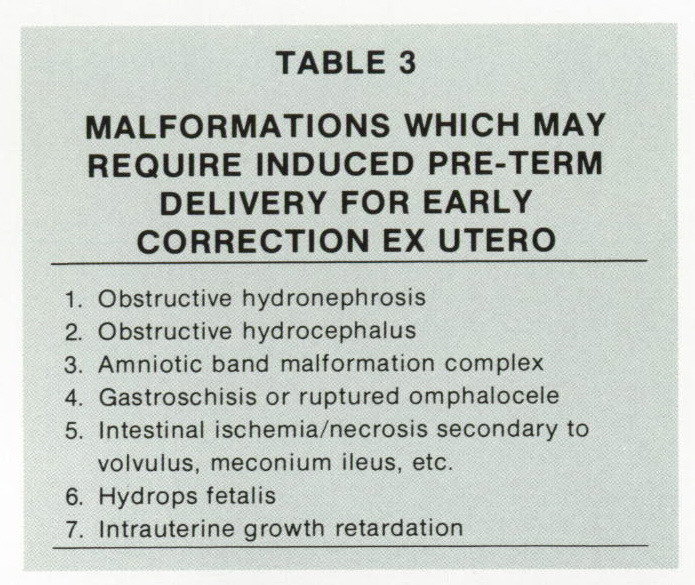 TABLE 3MALFORMATIONS WHICH MAY REQUIRE INDUCED PRE-TERM DELIVERY FOR EARLY CORRECTION EX UTERO